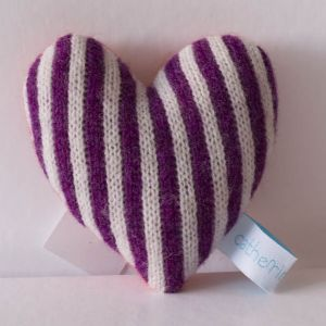 Violet and White Stripe Lavender Heart